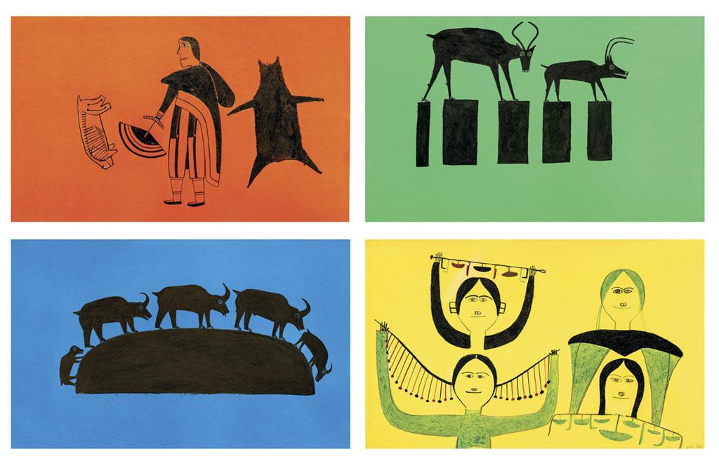 OonarkJessieUntitled(WomanSkinningAnimal)Untitled(MotherCaribouandCalfTraversingtheLandscape)Untitled(FourWomenwithUlus)Untitled(GoatsClimbingaRock)